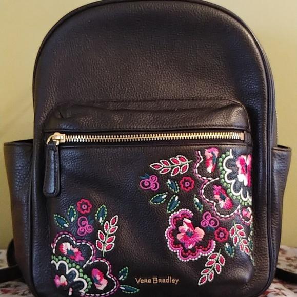 62f7194ed425 Vera Bradley embroidered leather backpack. M 5c3f7ba2df03074b2bffd68b